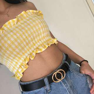 yellow gingham bandeau top