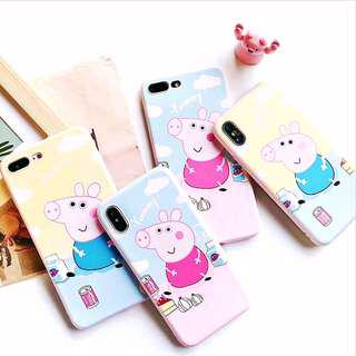 (PO) Peppa Pig Cartoon Yummy Word Soft Shell iPhone Casing
