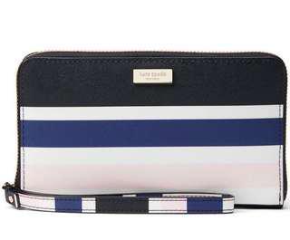 Kate Spade Laurel Way Printed Alvy Wallet Wristlet Cruise Blue Stripes # WLRU3105
