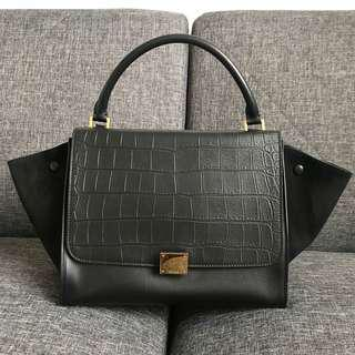 CELINE LIKE NEW CROC EMBOSSED MEDIUM TRAPEZE BAG