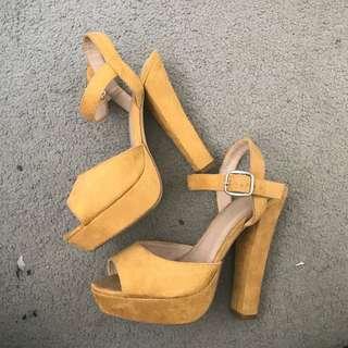 Mustard high heels