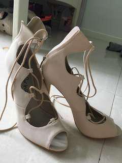 Betts tie up creme high heels
