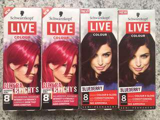 4 packs of semi-permanents hair colour