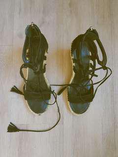 Open Toe Suede Espadrille Sandals