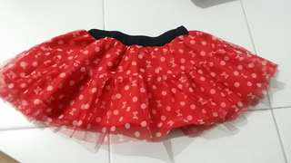 Baby Girl Tutu Skirt red white dots minnie 6/9mos