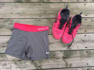 Nike shorts and running shoes