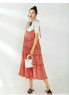LAMMA Red Checkered Layered Dress with Blouse Set