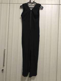 Long black two way Zipper bodysuit dress
