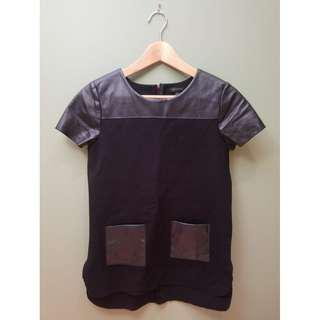 Ann Taylor Faux Leather Pocket Tee