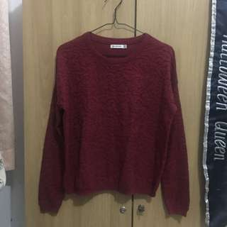STRADIVARIUS Maroon Floral Textured Sweater