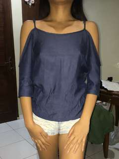 ZALORA Navy Blue Shoulder Cut Out Top