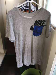 Grey NIKE shirt with Blue camo (Bape look a like) pocket