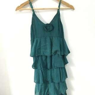 Green Ruffled Summer Dress