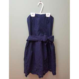 Hollister Navy Strapless Eyelet Dress with Bow Belt