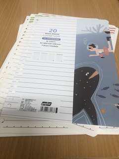A5 binder file refill paper