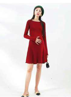 LAMMA Red Long-sleeved Short Maternity Dress