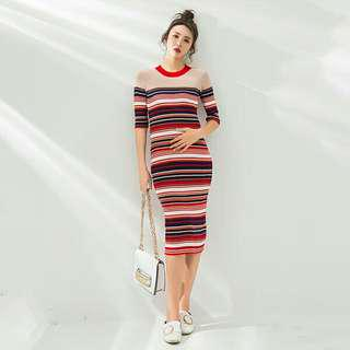 LAMMA Round Neck Red Stripes Maternity Dress