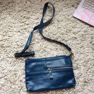 Genuine Leather Royal Blue Crossbody Bag/ Clutch 真皮寶藍色斜背包/手拿包
