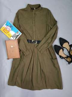 Olive Green Midi Dress with Belt