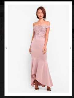 Blush pink mermaid style evening dress by Lipsy, London