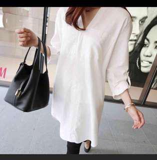 🚚 長版白襯衫V領