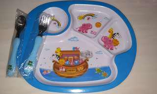 🚚 Kids Meal Plate with free fork n spoon