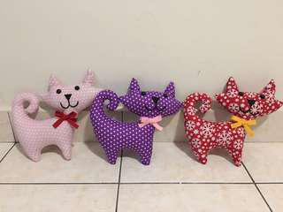 Handmade fabric soft toys.