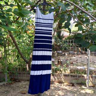 Warehouse blue and off white stripes dress
