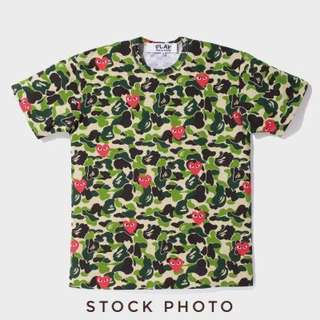 🚚 CDG Short Camo Love Red Heart T-shirt