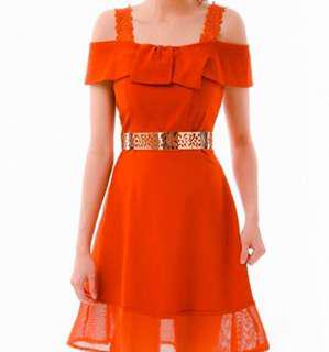 Off shoulder dress with bow details in Orange