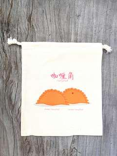 🚚 Uniquely Singapore : Handmade Curry Puff Canvas drawstring pouch