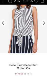 New* Cotton On Sleeveless Top Black and White Stripe tie knot belle