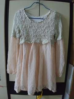 Alba rosa粉紅毛冷長䄂連衣裙