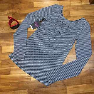 USA Rachel B Girls Stripey black white long sleeve top