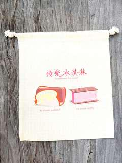 🚚 Uniquely Singapore : Handmade Traditional Ice cream canvas drawstring pouch
