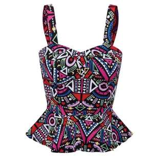Brand new colourful zig zag bustier top peplum