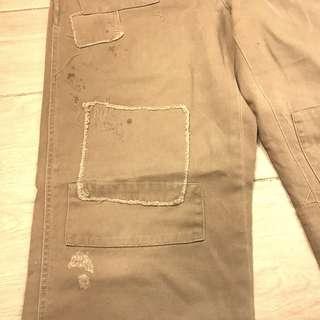 "Polo by Ralph Lauren 32"" distressed patch work khaki pants"