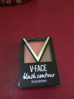 V-face blush contour + free eyeliner putih