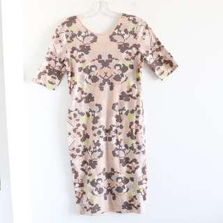 Philosophy short sleeve peach pink geometric print stretch cotton dress M medium