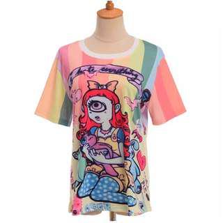 Harajuku lady character girl printing T-shirt