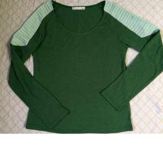 Pleated shoulder design Green Lonsgsleeves