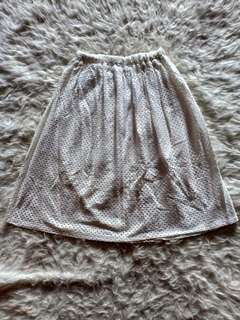 Rok midi laser cut putih / skirt midi