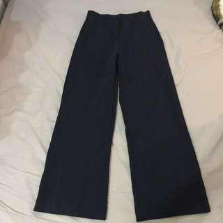 J.CREW navy wide leg trousers