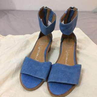 JEFFREY CAMPBELL denim strapped sandals - 8