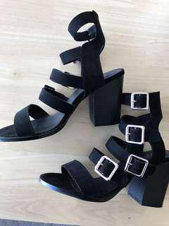 Black heels- straps and buckles