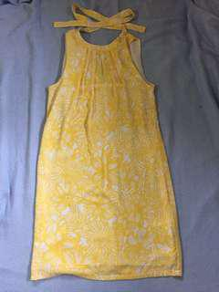 H&M muted floral yellow dress