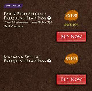 Halloween Horror Night Frequent Fear Pass