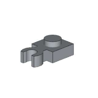 Lego Plate 1 x 1 with clip vertical, light bluish grey color