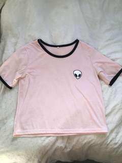 Pastel pink alien tee