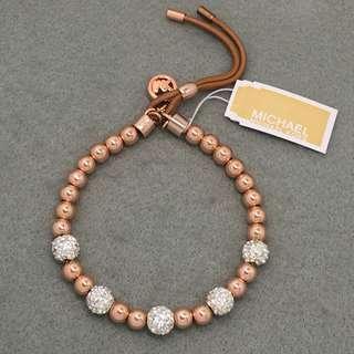 Michael Kors Sample Leather Bracelets 玫瑰金色閃石波波手鏈
